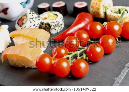 sushi selection and veg #1351409522