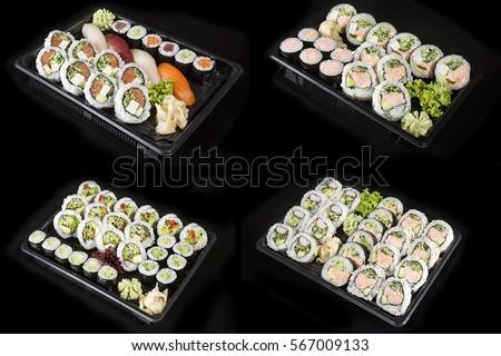 Sushi Set Box on the black background for take away Zdjęcia stock ©