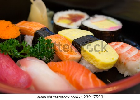 Sushi set closeup