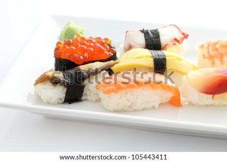 Sushi set in white background