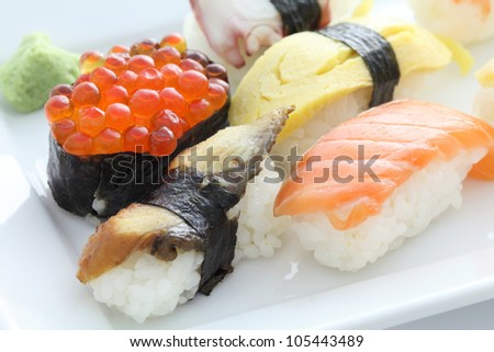 Sushi set in white background