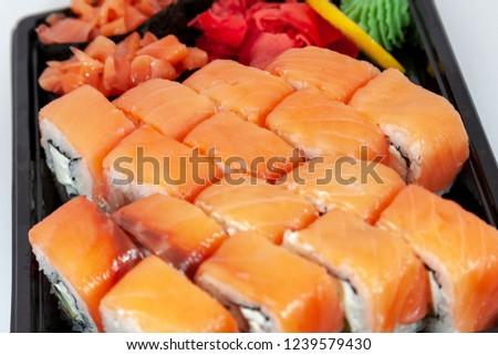 Sushi set Japanese food,rolls on white background #1239579430