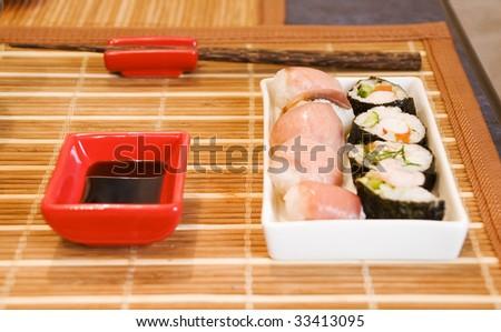 Sushi set on bamboo mat, shallow dof