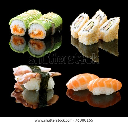 Sushi Set over black