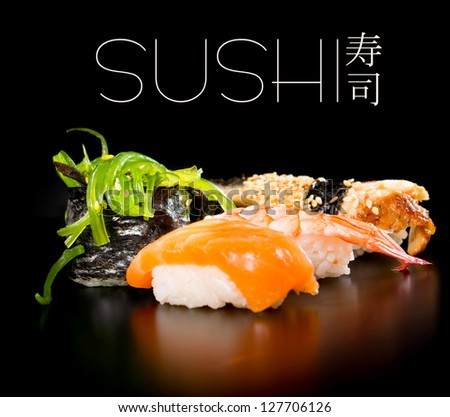 Sushi set  over black background