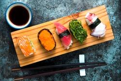 Sushi Set served on wooden