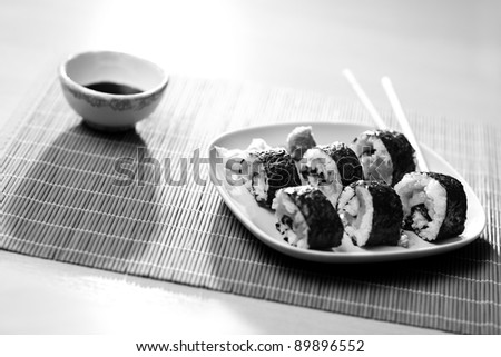Sushi still life. Black and white.