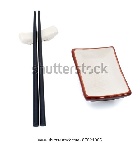 Sushi utensil: two sticks and bowl