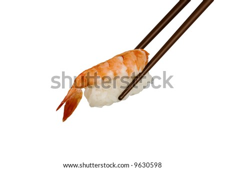 Sushi with a tiger shrimp. Studio isolated.