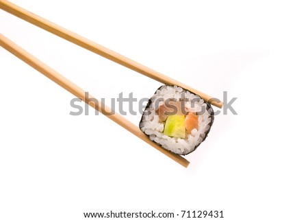 Sushi with chopsticks isolated on a white background