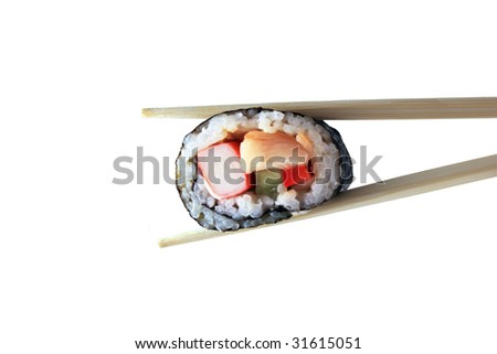 Sushi with chopsticks on the white background