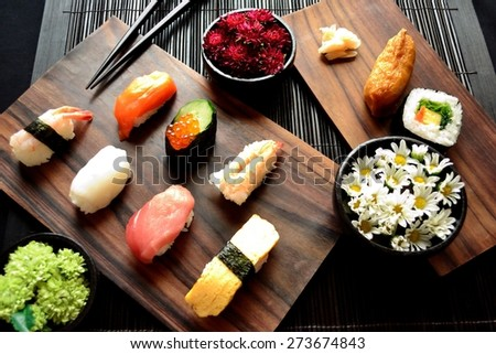 Sushi with chrysanthemum.Image of Japanese food