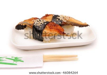 sushi with eel on a plate