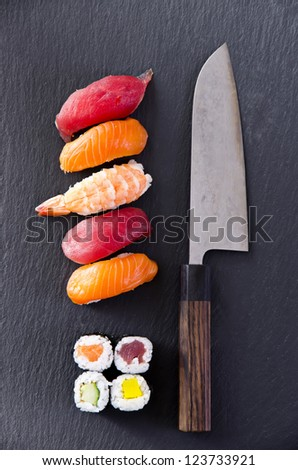 sushi with santoku knife