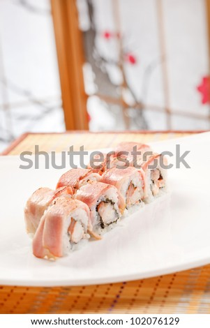 sushi with shrimp and bacon - stock photo
