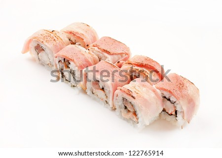 sushi with shrimp and bacon