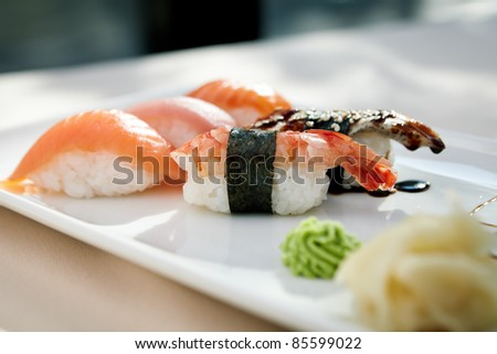 Sushi with shrimp, tuna, trout, eel and smoked salmon