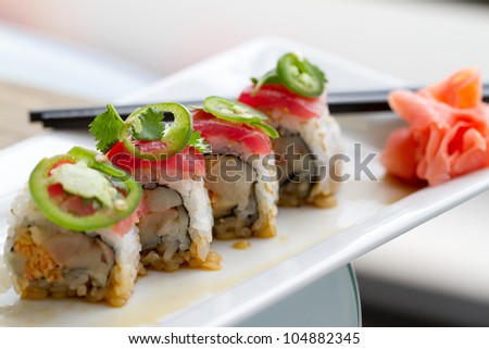 Sushi with tuna ,cilantro and Jalapeno peppers