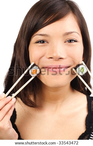 Sushi woman is smiling. Isolated on white.