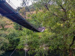 Suspended bridge in the Paiva wooden walkways, in Arouca, Portugal