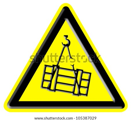 Suspended Load Hazard Sign - stock photo