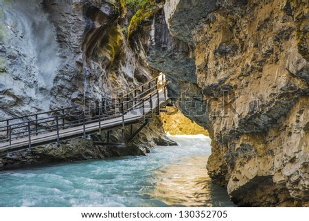 Suspended walkway above Johnston Creek, Banff National Park, Canada