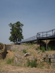 Suspended walkway allowing the visit through the castle ruins. A result of the explosion in its last utilization as ammunition warehouse.  Almeida, Portugal.