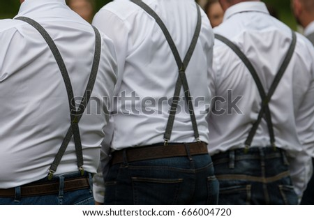 Suspenders and belt of a groomsmen at a wedding Сток-фото ©