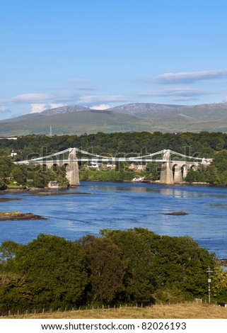 suspension bridge across the Menai Strait near Bangor built by Thomas Telford in 1826