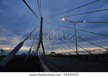 Suspension Bridge at Dusk #59441425