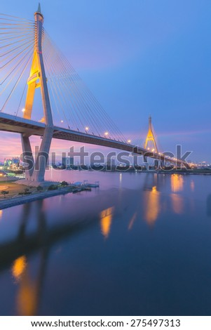 Suspension bridge (Bhumibol bridge) river front view after sunset  #275497313