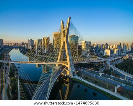 Suspension bridge. Cable-stayed bridge in the world. Sao Paulo city, Brazil, South America.