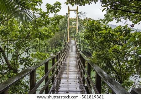 Suspension bridge, Crossing the lake, ferriage in the woods
