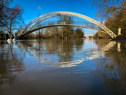 Suspension bridge in Bedfordshire during the flooding of the river great Ouse