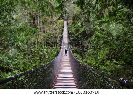 Suspension bridge over the canyon in rain forest. Woman hiking  in Lynn Canyon Provincial Park. North Vancouver. British Columbia. Canada.