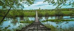 suspension bridge over the Russian river