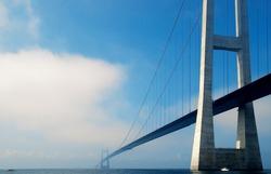Suspension bridge over the sea in Denmark