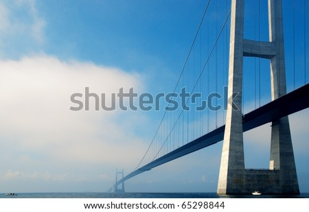 stock photo suspension bridge over the sea in denmark 65298844 - Каталог — Фотообои «Мосты»