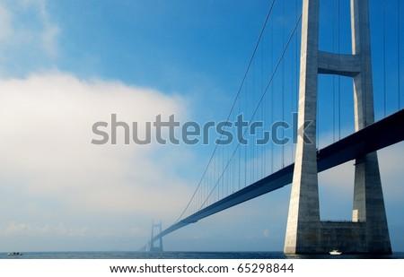 Suspension bridge over the sea in Denmark #65298844