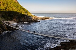 Suspension Bridge over the Storms River Mouth in Tsitsikamma National Park, South Africa