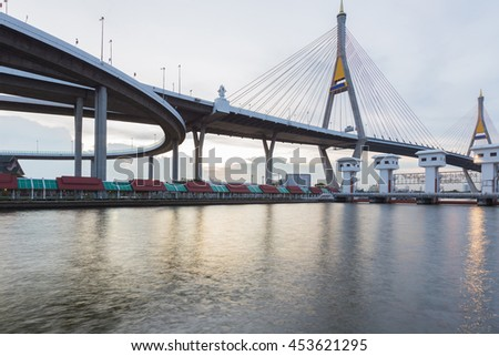 Suspension Bridge over watergate with Bangkok river, Thailand #453621295
