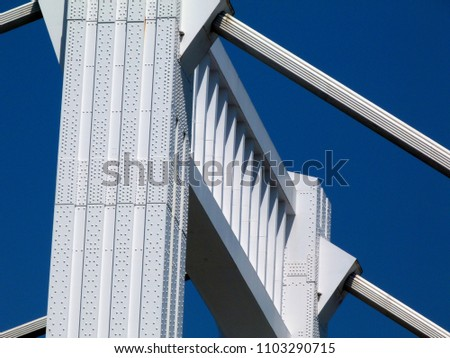 suspension bridge structure detail painted in bright white #1103290715