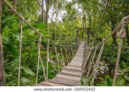 Suspension bridge, walkway to the adventurous, cross to the other side.