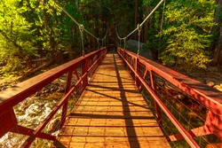 Suspension footbridge to Zumwalt Meadow. Zumwalt hiking in Kings Canyon National Park, a large clearing in the forest with wildflowers and the surrounding cliffs of Kings Canyon.