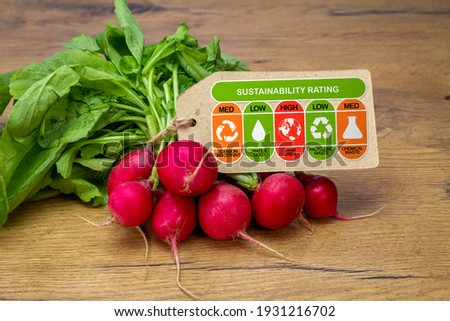 Sustainability Rating label on radishes with high, med and low ratings for food carbon footprint, water use, land use, packaging waste and chemical waste label. Consumer environmental rating label.