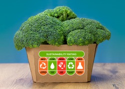 Sustainability Rating on box of broccoli with high, med and low ratings for food carbon footprint, water use, land use, packaging waste and chemical waste label. Consumer environmental rating label.