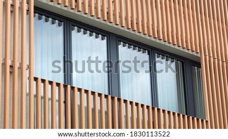Sustainable architecture, facade cladding with wooden slats Photo stock ©