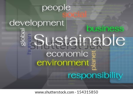 Sustainable business concept on virtual reality screen