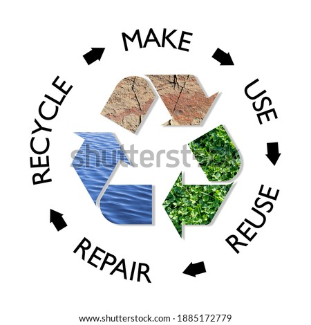 Sustainable circular Economy, make, use, reuse, repair, recycle, earth, plant, water resources for sustainable consumption, save the planet zero waste eco concept Stockfoto ©