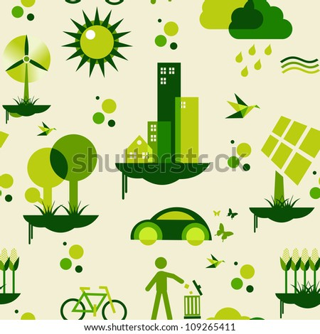 Sustainable city development with environmental icons conservation endlessly pattern.